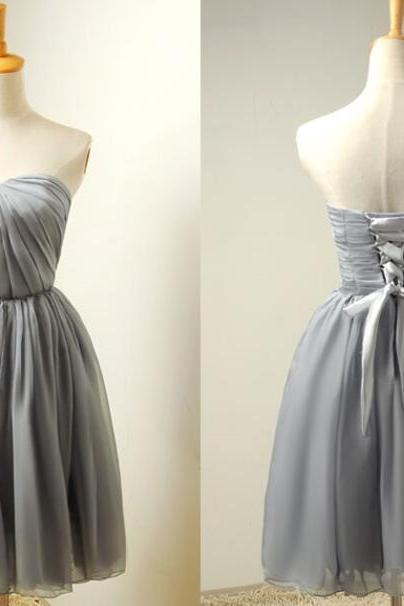 Charming Light Grey Knee Length Bridesmaid Dresses, Chiffon Short Party Dresses, Simple Wedding Party Dresses
