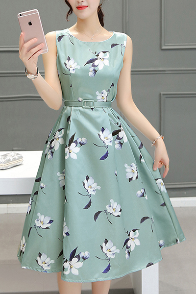 Beautiful Floral Green Summer A Line Dress, Women Summer Dresses, Stylish Teen Dresses