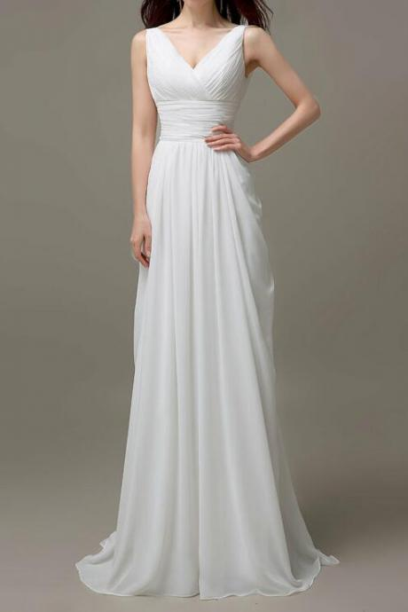 Beautiful White Simple A-line Chiffon Wedding Dresses, White Prom Dresses 2018, V-neckline Party Gowns