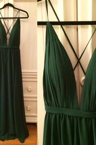 Sexy Handmade Dark Green V-neckline Cross Back Prom Dresses 2018, Dark Green Party Dresses, Evening Gowns