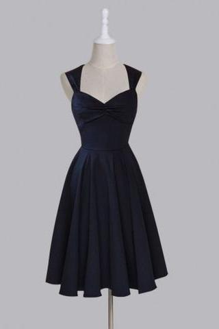 Simple Navy Blue Chiffon Bridesmaid Dresses, Knee Length Bridesmaid Dresses, Short Wedding Party Dresses