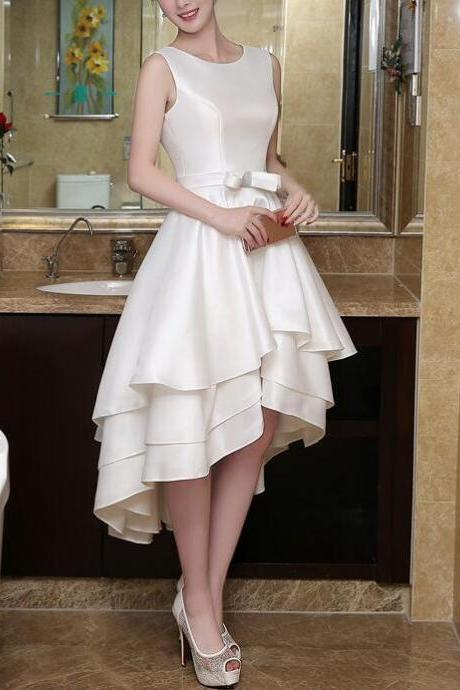 Lovely Ivory High Low Satin Round Neckline Homecoming Dresses, Sweet Prom Dresses, High Low Party Gowns