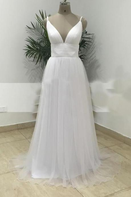 White Deep V-neckline Straps Backless Beach Wedding Dresses, Simple White Gowns, Prom Dresses 2018