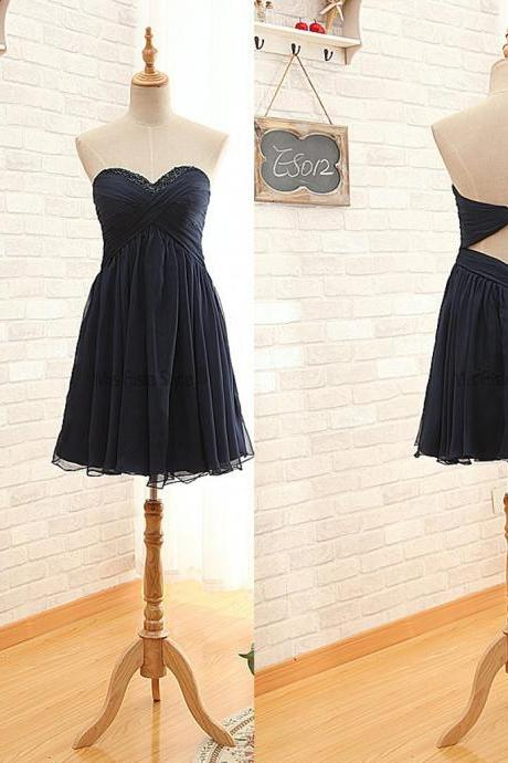 Chiffon Short Black Homecoming Dress,Knee length Black Chiffon Cocktail Dress, Short Prom Dresses