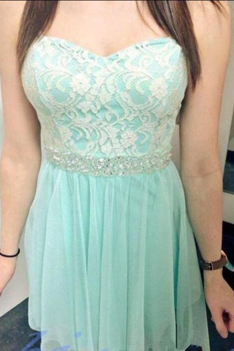 Cute Mint Green Tulle and Lace Beaded Short Homecoming Dresses, Sweet Teen Fashion Dresses, Lovely Dresses