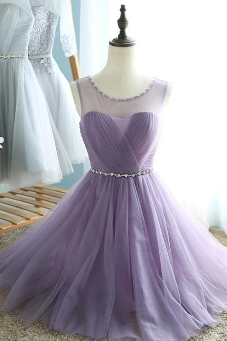 Round Neckline Knee Length Purple Tulle Homecoming Dresses, Short Cute Prom Dresses, Lovely Teen Formal Dresses