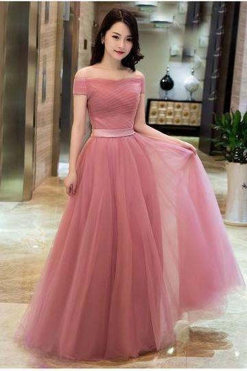 Off Shoulder Dusty Pink Gowns,Long Formal Dresses, Lace-up Prom Dresses 2018