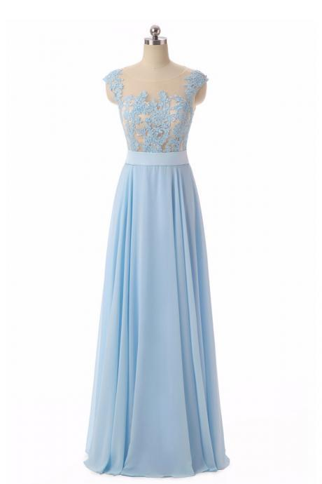 Light Blue Chiffon Long Lace Appliqués Senior Prom Dress, Light Blue Bridesmaid Dresses