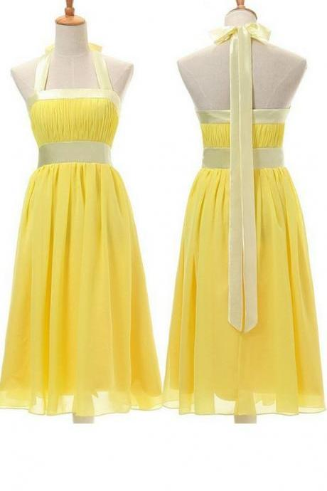 Lovely Style Yellow Halter Bow Knee Length Bridesmaid Dresses, Yellow Party Gowns, Short Party Dresses