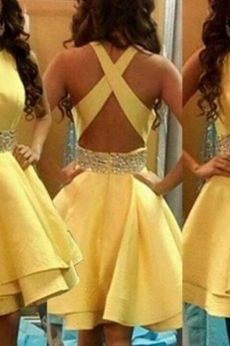 Yellow Cross Back Homecoming Dresses, Satin New Style Prom Dresses, Lovely Formal Dresses