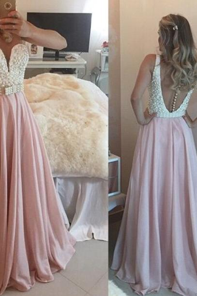 Beautiful Pink V-neck A-line Floor-length Prom Dress with Pearls, Pink Party Gowns, Pink Prom Dresses 2018