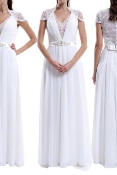 White Chiffon Cap Sleeves Floor Length Simple Wedding Dresses, White Prom Dresses, Simple Party Gowns