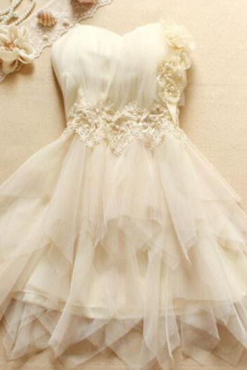 Adorable Ivory Sweetheart Short Tulle Homecoming Dress with Floral, Lovely Short Teen Formal Dresses, Ivory Prom Dresses