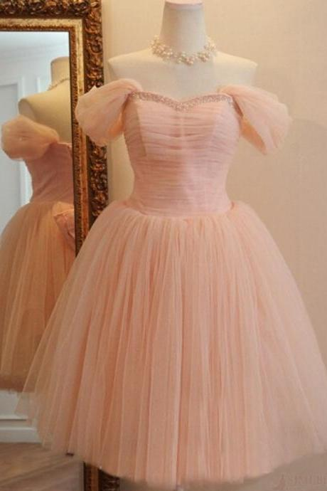 Pink Vintage Style Off Shoulder Pink Tulle Prom Dresses with Bow, Pink Bridesmaid Dresses with Lace-Up, Formal Dresses 2018