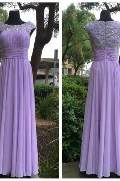Elegant Lavender Chiffon Long Beaded Floor Length Formal Party Dresses, Evening Gowns, Long Prom Dresses