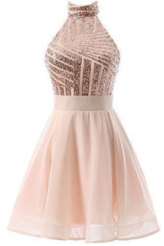 Light Pink Chiffon Halter Sequins Top Short Homecoming Dresses, Pink Formal Dresses, Sweet 16 Dresses