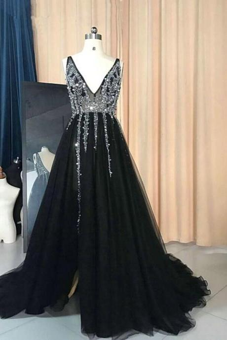 Black Slit Long V-neckline Beaded Prom Dresses, Tulle Party Dresses, Tulle Prom Dresses, Formal Gowns