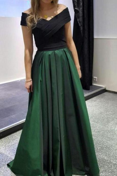 Dark Green and Black Long Formal Dresses,Evening Gowns, Formal Dresses, Off Shoulder Party Dresses