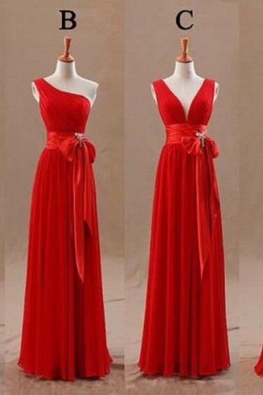 Red Mismatch Chiffon Long Bridesmaid Dresses, Red Simple Bridesmaid Dresses, Formal Dresses, Evening Gowns