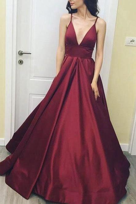 Satin V-neckline Prom Dresses, Burgundy Long Party Dresses, New Style Formal Dresses