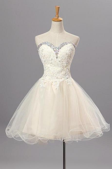 Lovely Ivory Homecoming Dresses, Lace and Tulle Beaded Sweetheart Prom Dresses,Cute Formal Dressess