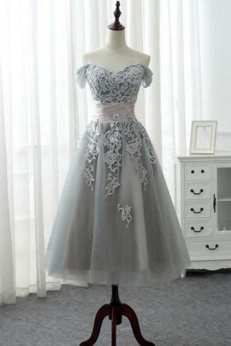 Grey Vintage Style Teen Length Off Shoulder Evening Dresses, Formal Gowns,Tulle Prom Dresses