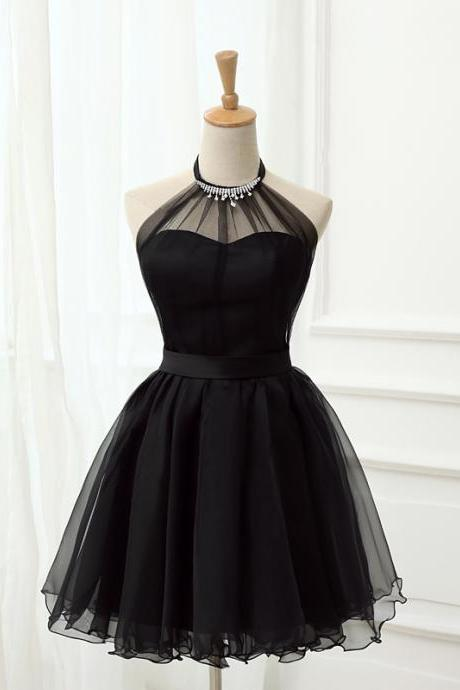 Cute Little Black Short Dresses, Homecoming Dresses, Halter Short Prom Dresses 2018