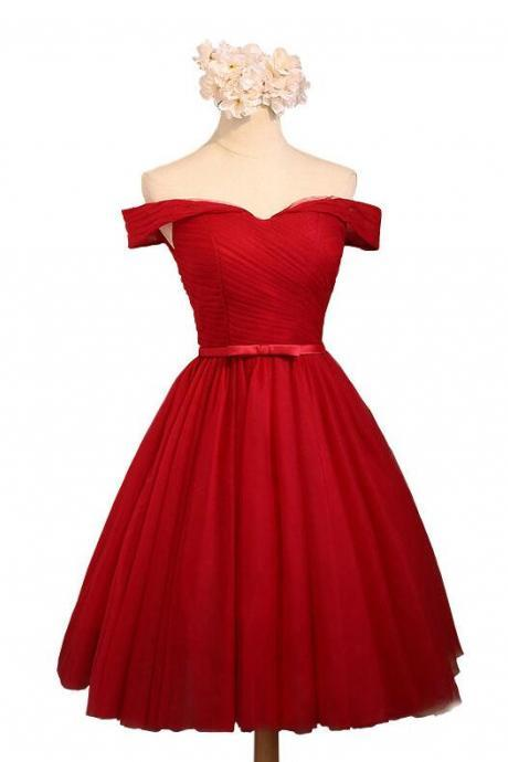 Red Tulle Off Shoulder Knee Length Formal Dresses, Red Homecoming Dresses, Short Prom Dresses