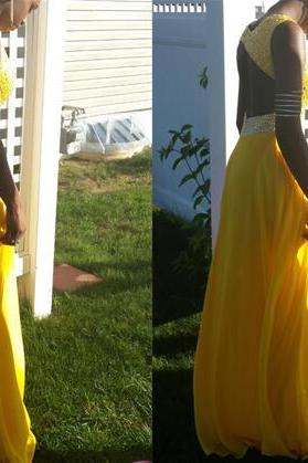Yellow Backless Sequins and Beaded Chiffon Long Prom Dresses, Long Party Dresses, Evening Formal Dresses