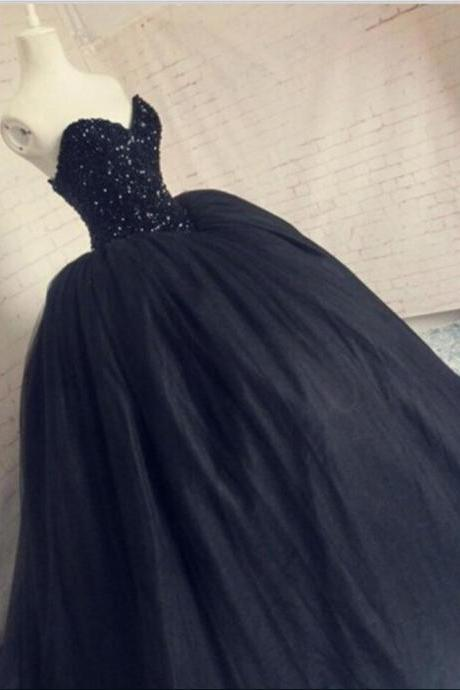 Gorgeous Beaded Black Prom Dress, Sequins Sweetheart Sparkly Corset Puffy Tulle Long Party Gowns, Sweet 16 Gowns