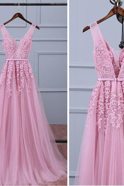 Pink Tulle Lace Appliqued Prom Dresses,Sexy V Neck Party Dresses, Pink Long Bridesmaid Dresses 2018