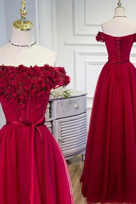 Off Shoulder Wine Red Floral Tulle Gowns, Formal Dresses with Lace-up, Prom Dresses 2018