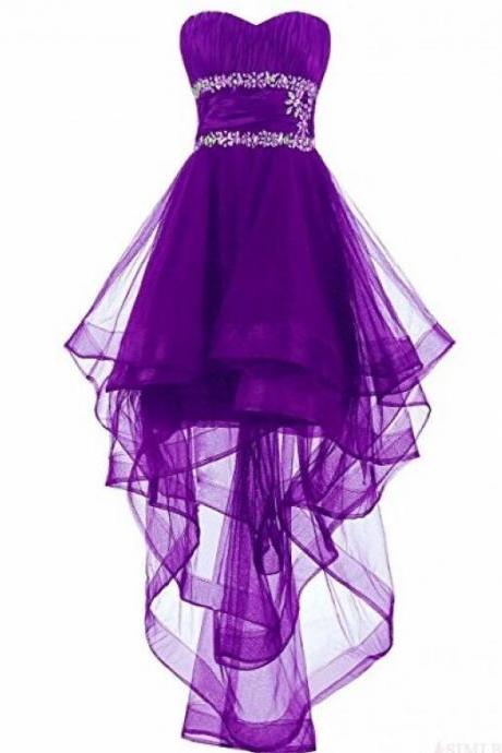 Lovely Dark Purple High Low Organza Lace-Up Formal Dresses, Beaded Formal Dresses, Homecoming Dresses 2018
