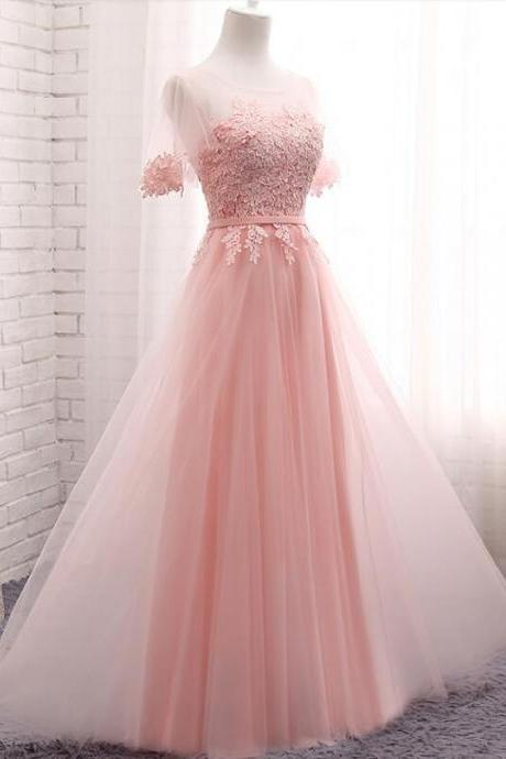 Pink Short Sleeves Bridesmaid Dresses, Pink Formal Dresses, Party Dresses, Evening Dresses