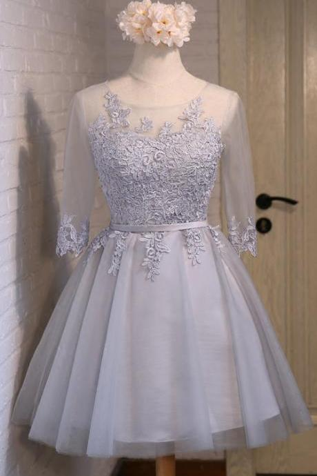 Grey 1/2 Sleeves Lace and Tulle Knee Length New Style Prom Dresses 2018, Formal Gowns, Bridesmaid Dresses for Sale