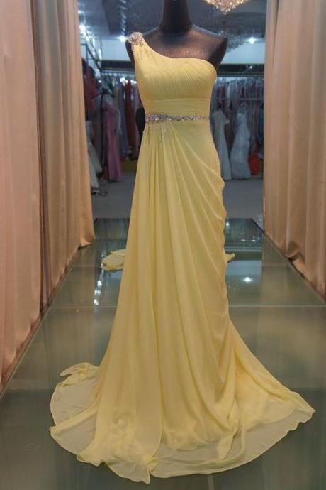 Yellow One Shoulder Chiffon Elegant Formal Party Dresses, Long Prom Dresses, Formal Gowns, Prom Dresses