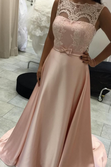 Pink Satin Formal Gown with Lace Top Details, A-line Prom Dresses, Elegant Party Dresses