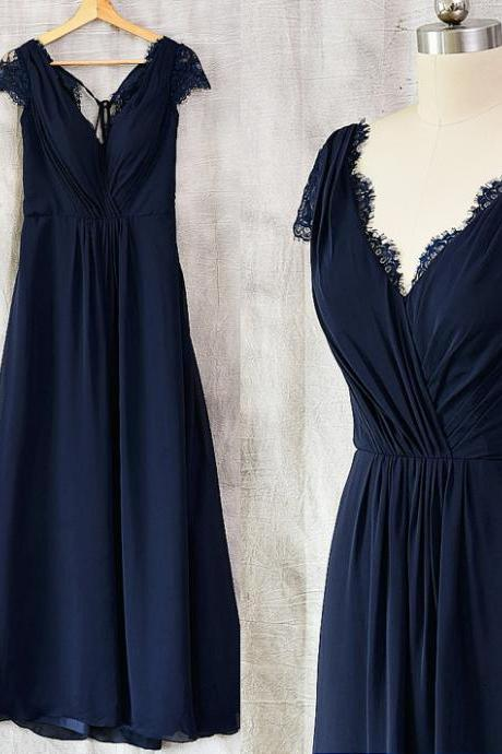 Pretty Navy Blue Cap Sleeves Chiffon Long Bridesmaid Dresses, Vintage A-line Bridesmaid Dress, Wedding Party Dresses