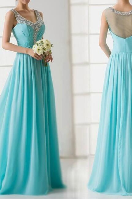Ice Blue Pretty V-neckline Through Back Beaded Formal Gowns, A-line Party Dresses, Prom Dresses 2018