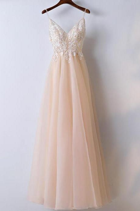 A-line Fashion Spaghetti Straps Long Prom Dress Lace Applique, V-neckline Elegant Prom Dresses, Long Formal Gowns