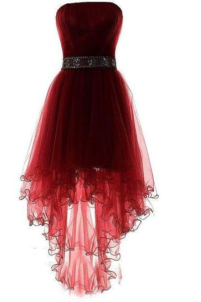 Dark Wine Red Tulle Sleeveless Homecoming Dresses, Asymmetry Prom Dresses, High Low Beaded Formal Dresses