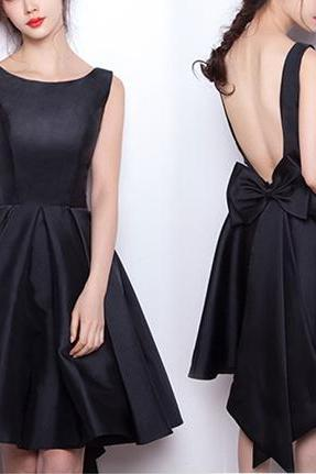 Black Sexy Backless Bow Short Prom Dresses, Satin Short Prom Dress, Chic Formal Dresses 2018