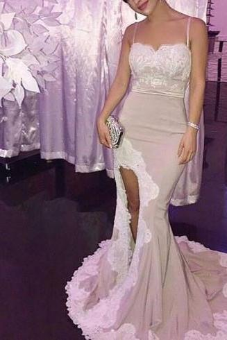 Sexy Slit Mermaid Straps Long Lace Applique Detail Wedding Party Dresses, Long Formal Dresses, Sweetheart Party Dresses