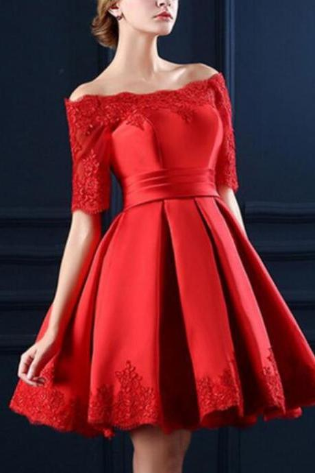 Red 1/2 Sleeves Short Off Shoulder Satin Party Dress with Lace-up Back ,Red Knee Length Homecoming Dresses, Charming Prom Dresses 2018