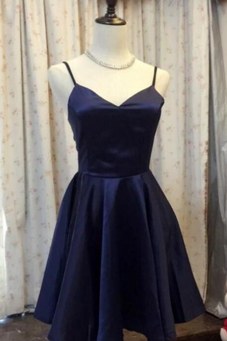 Navy Blue Straps Sweetheart Simple Short Lovely Homecoming Dresses, Short Prom Dresses 2018, Sweet 16 Formal Dresses, Bridesmaid Dresses