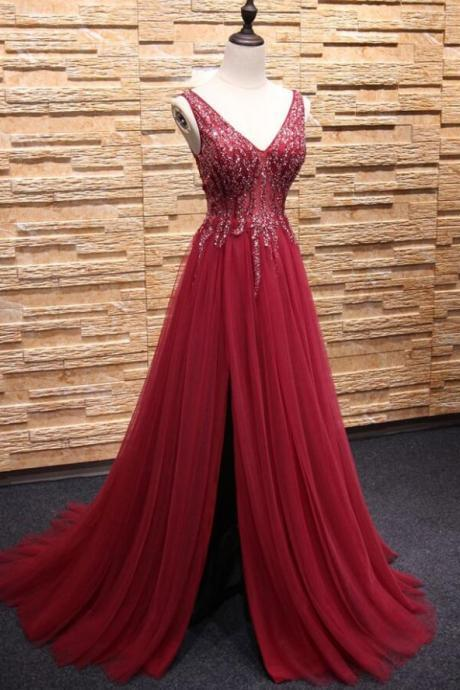 Wine Red Beaded Slit Long Tulle Prom Evening Dresses, V-neckline Formal Gowns, Sparkle Party Dresses