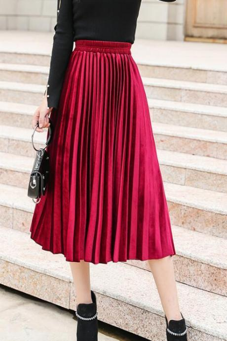 Cute Velvet Dark Red Long Skirt, Women Autumn Winter Skirts, Elegant Skirts