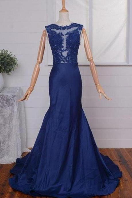 Elegant Mermaid Navy Blue with Illusion Jewel Neckline, Taffeta Lace Appliques Formal Dresses, Wedding Party Dresses