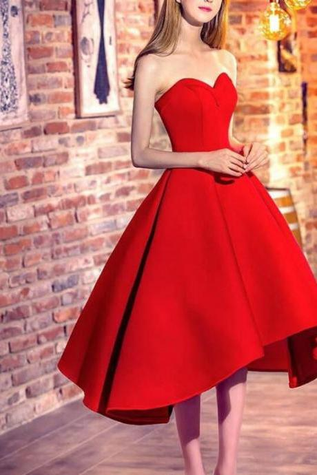 Little Red Lovely High Low Prom Dresses 2018, Red Sweetheart Satin A Line Short Prom Dresses, Corset Back Formal Party Wear Formal Dresses