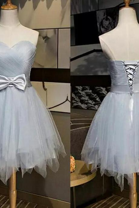 Sweetheart Grey Short Prom Dress, Vestido De Festa Cheap Price Homecoming Dresses, Lace-Up Formal Dresses
